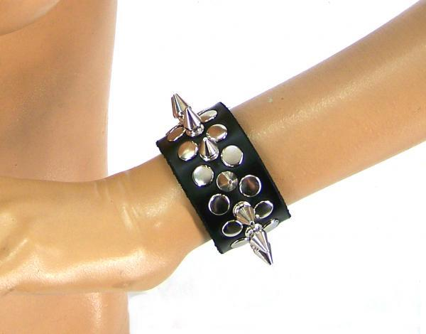 Half Metal Punk Spiked Leather Wristband (Small) Axovus centerpoint-fashion.myshopify.com