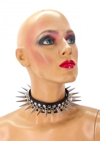 Full Metal Punk Spiked Leather Choker (Large) Axovus centerpoint-fashion.myshopify.com