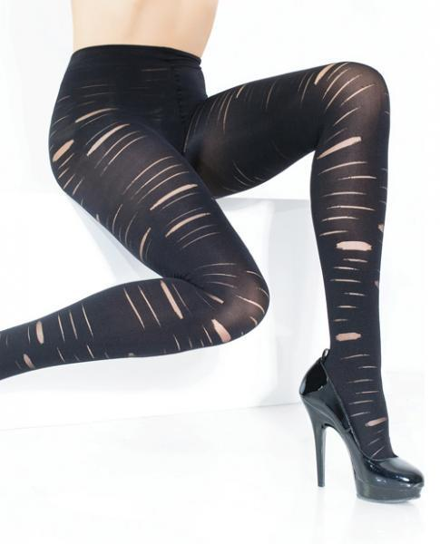 Stretch Nylon Opaque Slashed Pantyhose Black O-S Coquette International centerpoint-fashion.myshopify.com