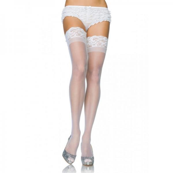 Stay Up 3 inches Lace Top Lycra Sheer Thigh Highs O-S White Leg Avenue centerpoint-fashion.myshopify.com