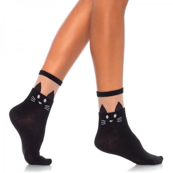 Black Cat Opaque Anklet Socks Sheer Tops O-S Black Leg Avenue centerpoint-fashion.myshopify.com