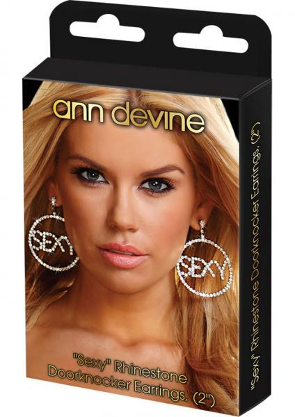 Sexy Rhinestone Doorknocker Earrings 2 Inches Ann Devine centerpoint-fashion.myshopify.com