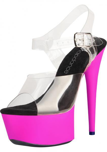 7 Inches Clear Pink UV Sandal Strap Size 7 Lapdance Shoes centerpoint-fashion.myshopify.com