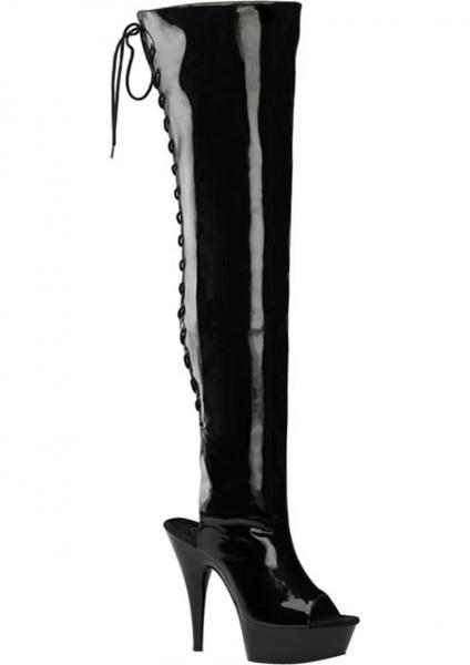 Delight 3017 Black Thigh High Boots Size 8 Pleaser Sexy Shoes centerpoint-fashion.myshopify.com