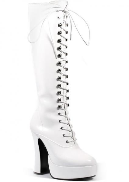 Electra White Knee High Zipper Boots Size 8 Pleaser Sexy Shoes centerpoint-fashion.myshopify.com