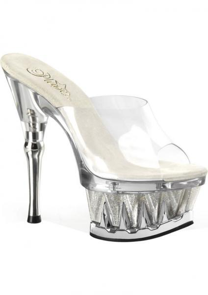 Spiky Clear Silver Glitter Stiletto Sandals Size 7 Pleaser Sexy Shoes centerpoint-fashion.myshopify.com