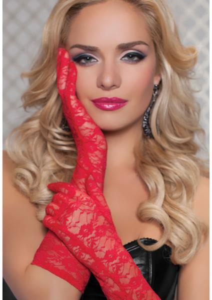 Lace Elbow Length Gloves Red O-S Seven 'Til Midnight Lingerie centerpoint-fashion.myshopify.com