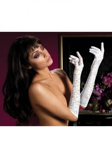 Lace Elbow Length Gloves White O-S Seven 'Til Midnight Lingerie centerpoint-fashion.myshopify.com