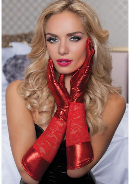 Lace Lame Elbow Length Gloves Red O-S Seven 'Til Midnight Lingerie centerpoint-fashion.myshopify.com