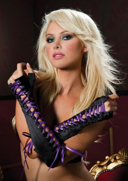 Above The Elbow Lace Up Gloves Purple OS Seven 'Til Midnight Lingerie centerpoint-fashion.myshopify.com