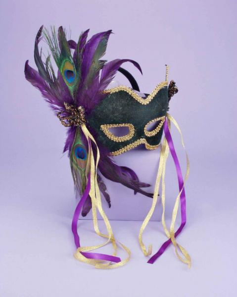 Half Mask Peacock Feather Green O-S Forum Novelties centerpoint-fashion.myshopify.com