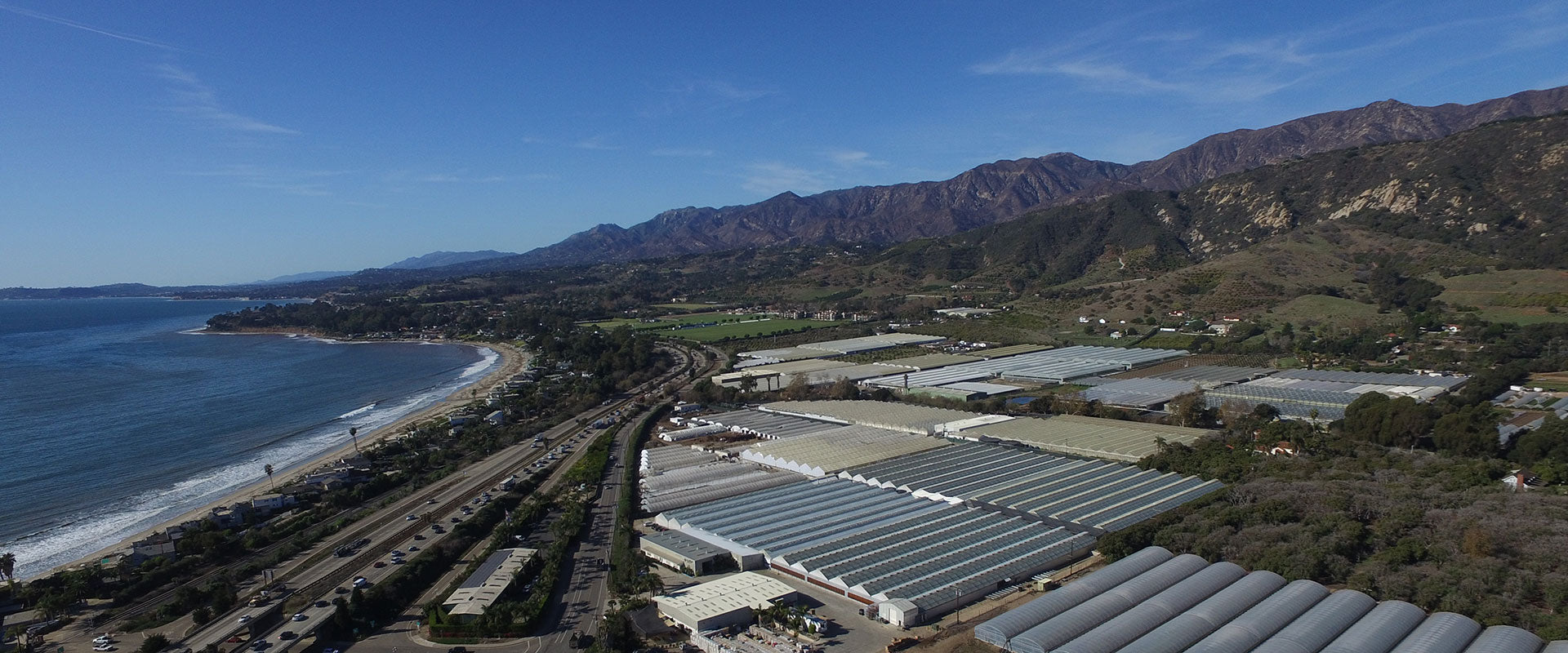 Aerial view of Westerlay Orchids' growing operation in Carpinteria.