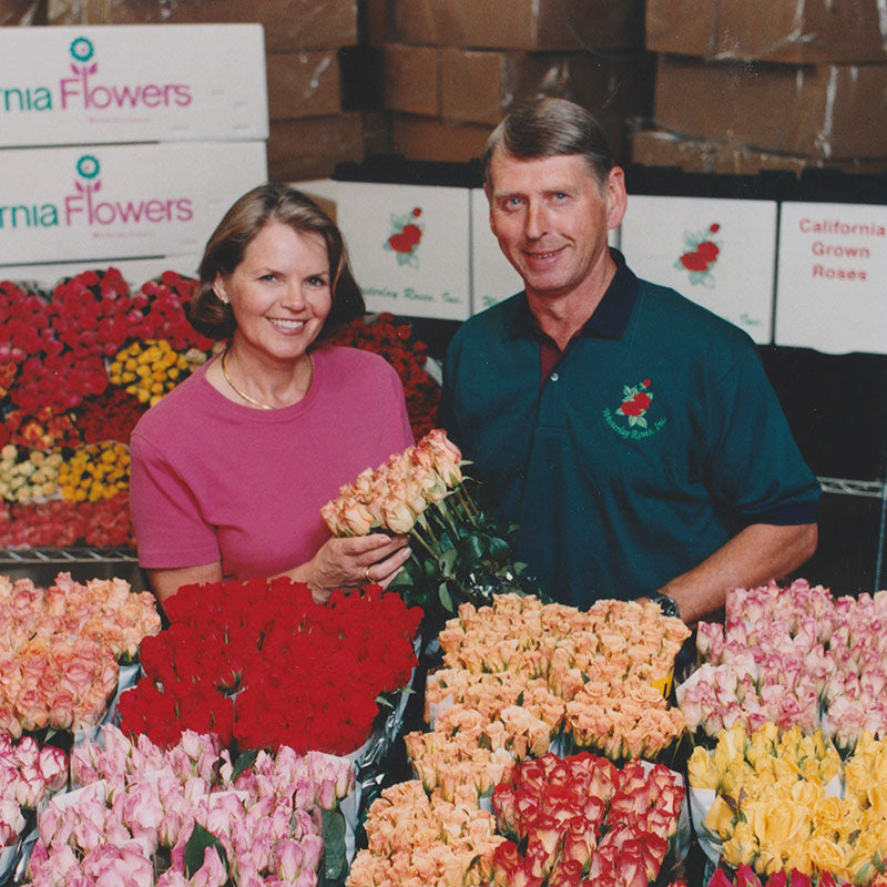 Lucy and Joop Overgaag with Westerlay Roses.