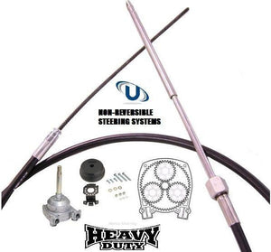 New Outboard Planetary Non Feedback Steering Helm &  6.40 - (21FT) Cable Kit - Boat Steering