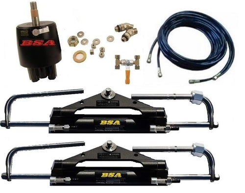 Twin Hydraulic Outboard Motor Steering Kit USA up to 150HP - Boat Steering