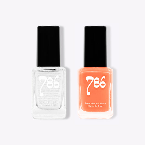 Top Coat Clear and Zhangye - Halal Nail Polish (2 Piece Set)