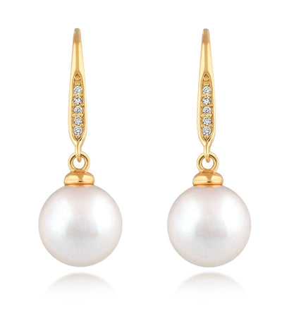 Pearl Drop Earrings Gold Vermeil with Sparking Cubic Zirconia