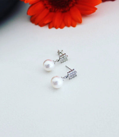 Pearl Drop Earrings Art Deco Akoya
