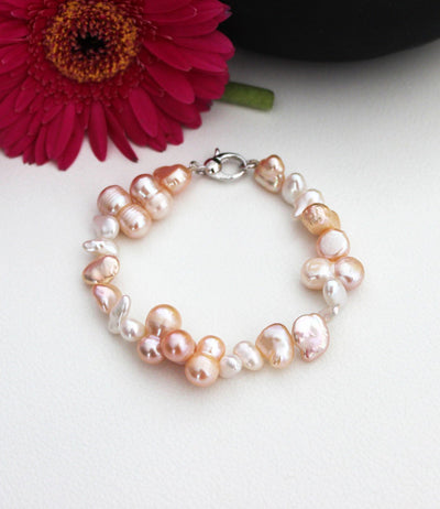 Pearl Bracelet Rhodium Plated Sterling Silver