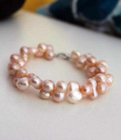 Pearl Bracelet Ultra Chic Flora Baroque Peach Sterling Silver