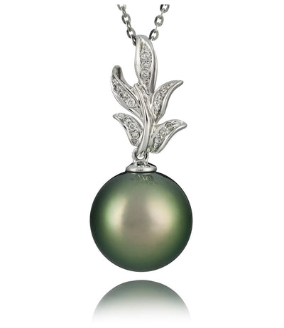 Tahitian Pearl Necklace in Natural Pistachio Colour 18k White Gold