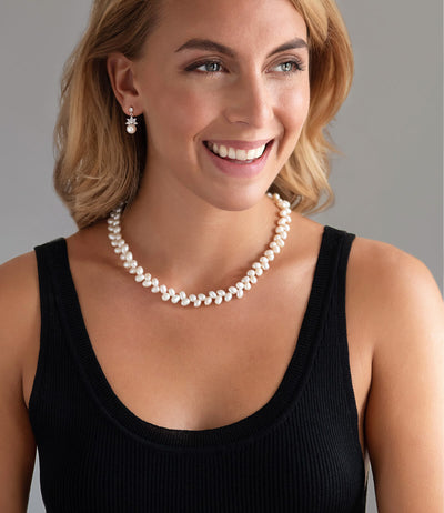 Leaf Classic Freshwater Pearl Necklace in Sterling Silver
