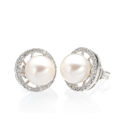 Pearl Stud Earrings Sterling Silver with Cubic Zirconia