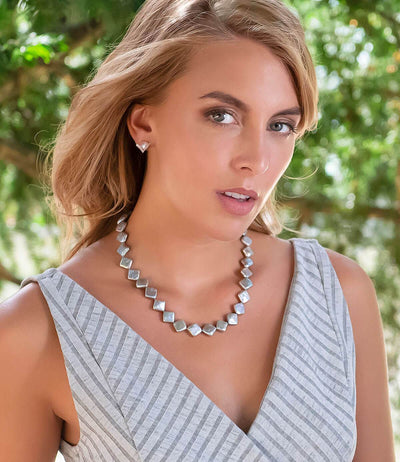 Edgy Grey Square Baroque Pearl Statement Necklace Metallic Shine Sterling Silver Cubic Zirconia Rock n Roll