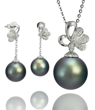 Luxury Black Tahitian Pearl Diamond Necklace and Earrings Set in 18k White Gold