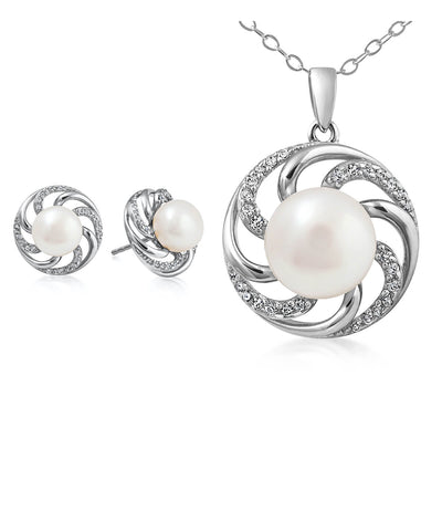 Paradis Pearl Earrings and Necklace Set Sterling Silver