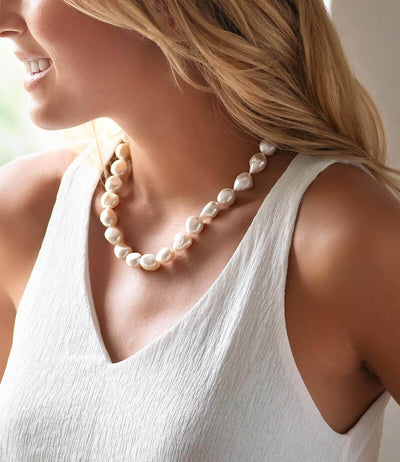 Baroque Pearl Necklace in Sterling Silver Modern Keshi