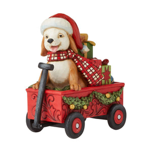 CHRISTMAS DOG IN WAGON