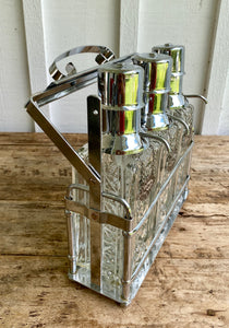 1960s Mid-Century Decanter Set - Chrome & Glass