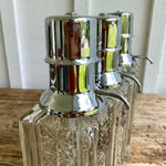 Load image into Gallery viewer, 1960s Mid-Century Decanter Set - Chrome & Glass