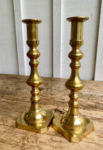Load image into Gallery viewer, Pair of Antique English Brass Candlesticks c.1880