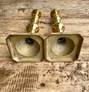 Pair of Antique English Brass Candlesticks c.1880