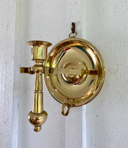 Pair of Baldwin Brass Nautical Finger Loop/Wall Swivel Candleholders