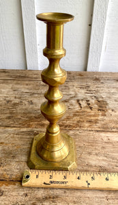 Mid 19th Century Antique English Victorian Brass Candlesticks