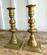 Load image into Gallery viewer, Victorian Knob Stemmed Brass Candlesticks