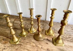 Assorted Antique Brass Candlesticks