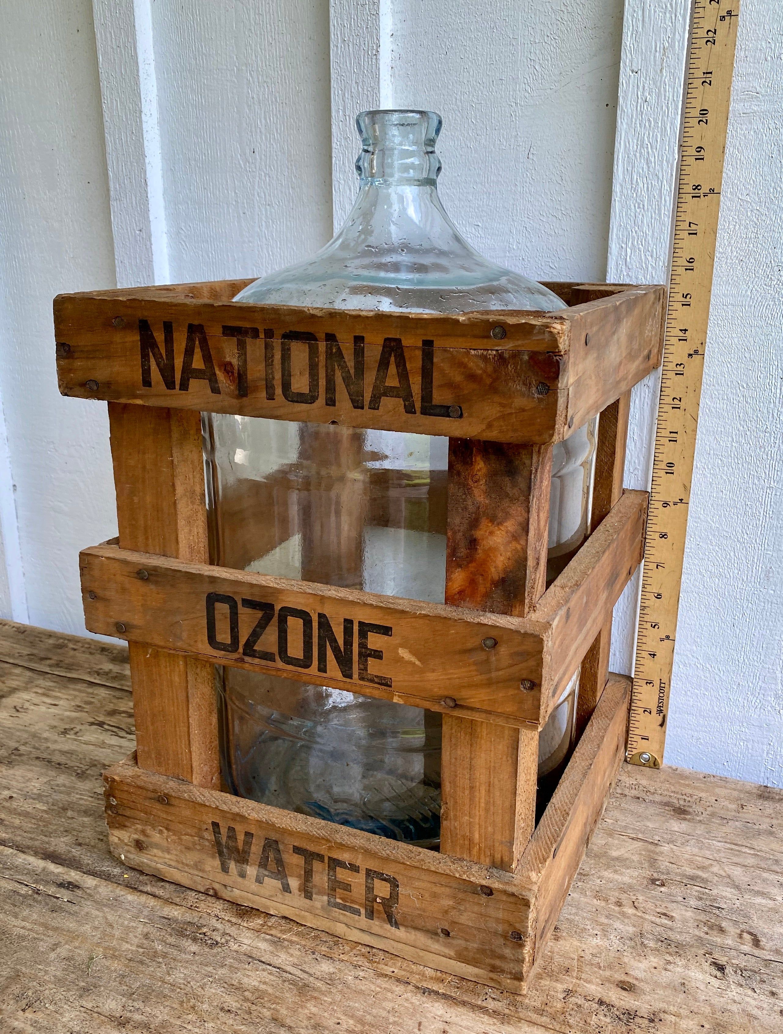 Vintage National Ozone Water Crate & Glass Water Jug