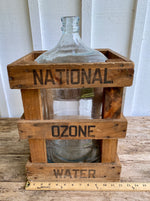 Load image into Gallery viewer, Vintage National Ozone Water Crate & Glass Water Jug