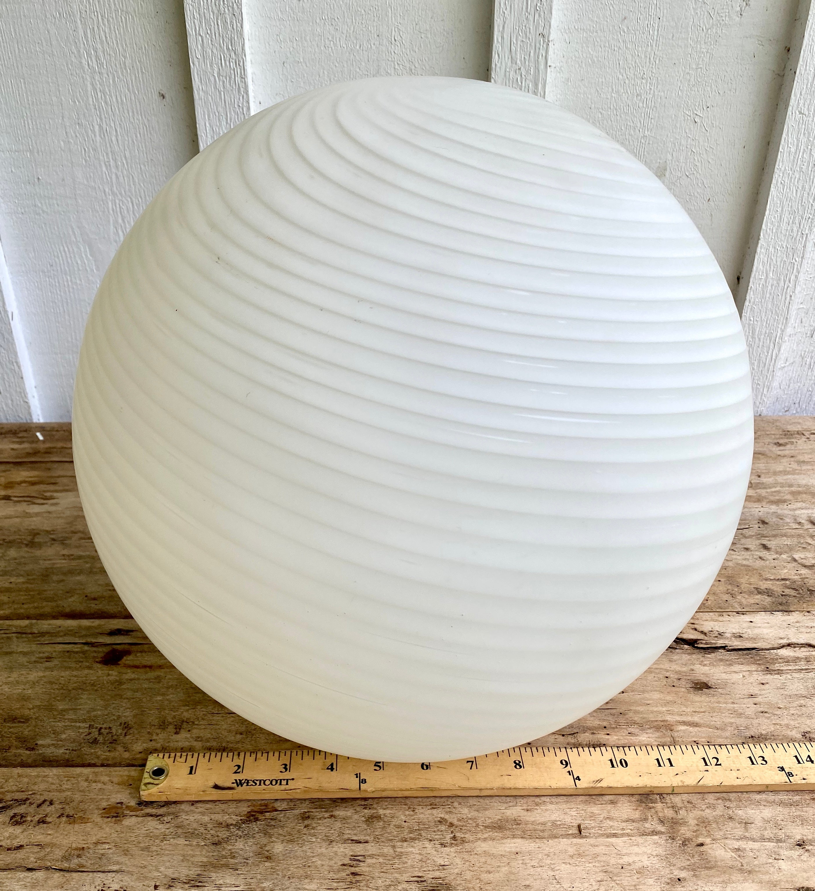 French Art Deco Spiral White Milk Glass Orbs