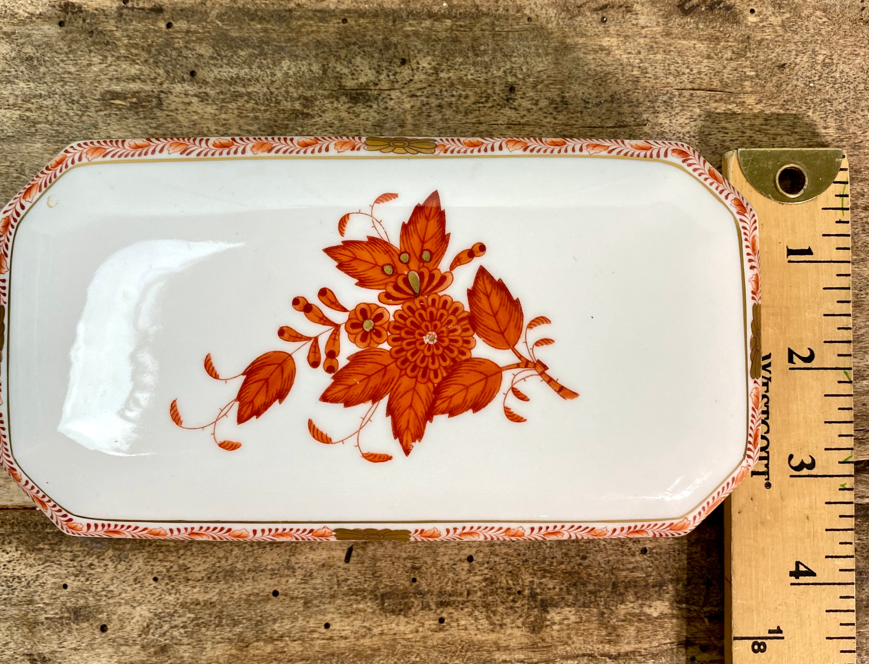 Herend Hungary Chinese Bouquet Rust Trinket Box