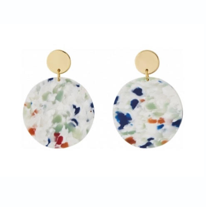 AYM Ellen White Brass Tivoli Confetti Circle Earrings