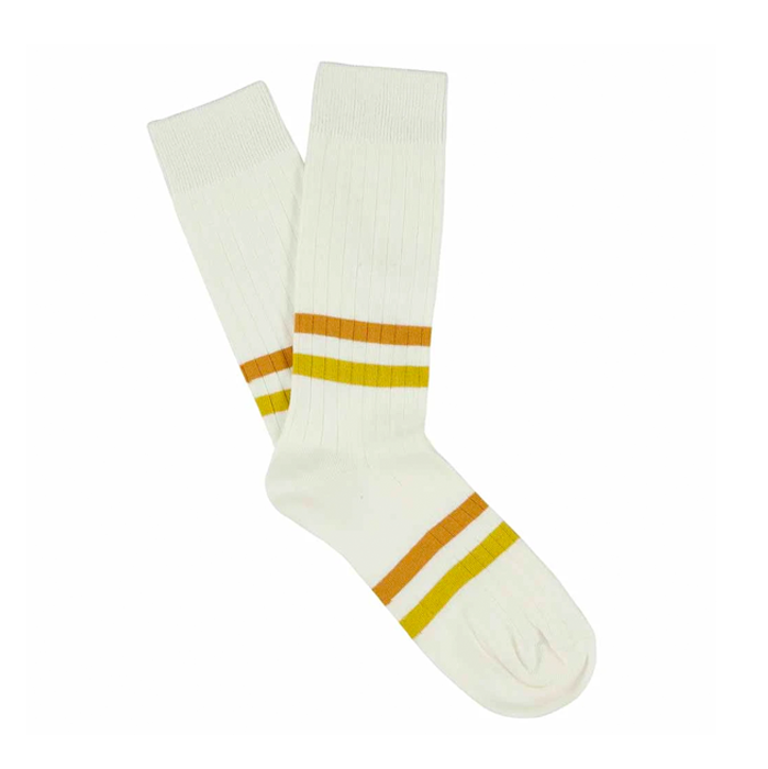 Escuyer Off White Ochre Mustard Stripe Socks