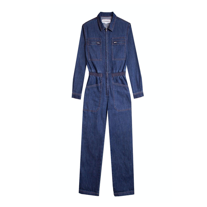 LF Markey Danny Longsleeve Denim Jumpsuit