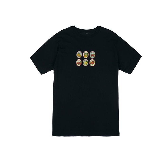 Pair of Peaches Navy Fruit Sticker Tshirt