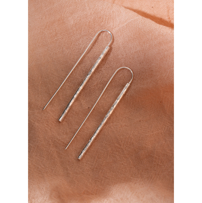 Studio Adorn Hammered Silver Ear Threads Earrings