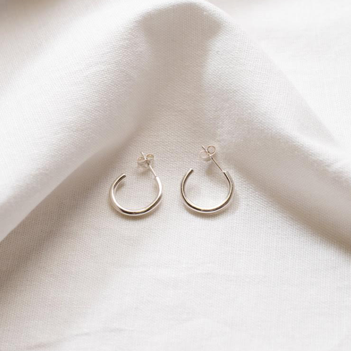 Studio Adorn Thin Sterling Silver Hoop Earrings